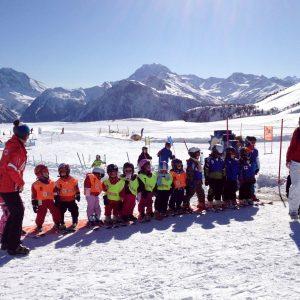 Belallp Skischool. Beginnersklasje