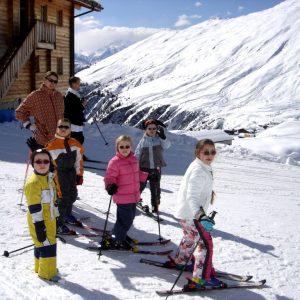 Klaar om weg te skien vanaf ons chalet.